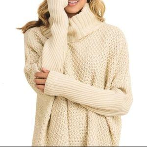 DOE & RAE Cowl Neck Chunky Sweater L ✅ Gift